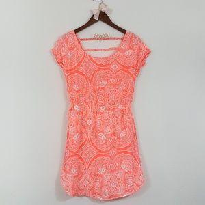 AEO Bright Orange & White Floral Print Sun Dress S